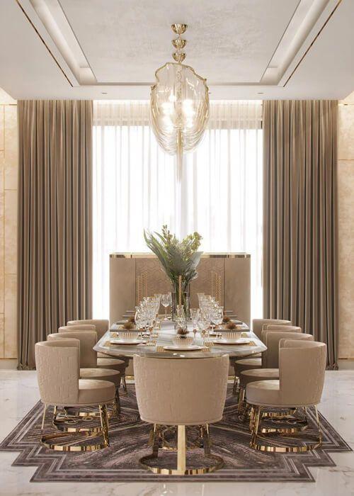 Poltrona para mesa de jantar luxuosa