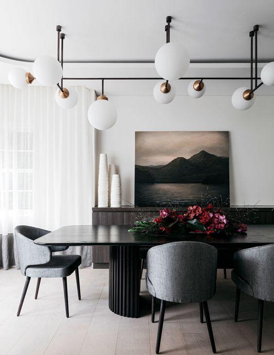 Poltrona para mesa de jantar cinza e preto