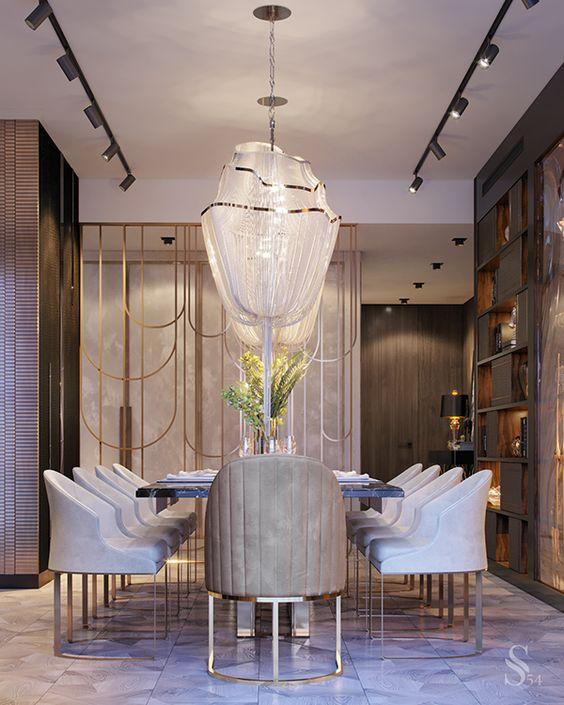 Poltrona para mesa de jantar sofisticada com lustre de cristal