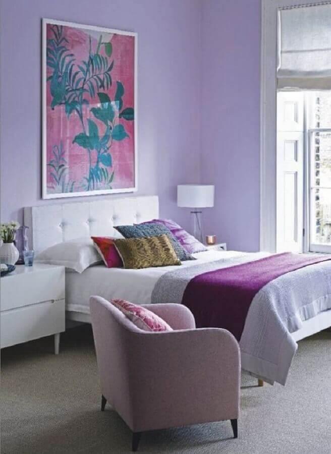 quadros para decorar quarto feminino lilás Foto Conexão Décor