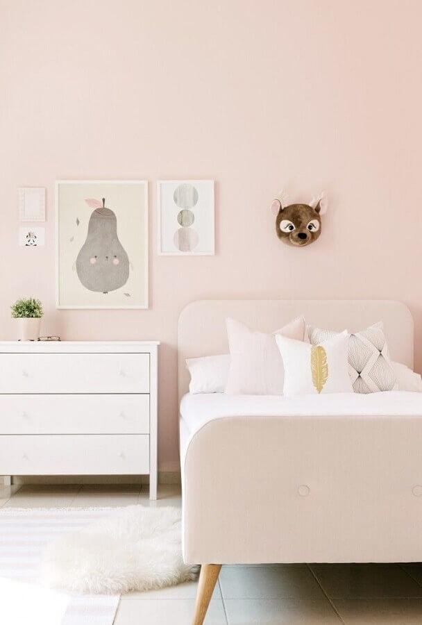 quadros para quarto infantil feminino decorado em tons de rosa claro Foto Jeito de Casa