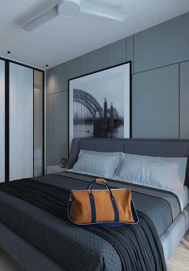 quarto de casal decorado em tons de cinza Foto Pinterest