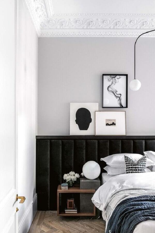 quarto decorado com cabeceira estofada preta moderna Foto Pinterest