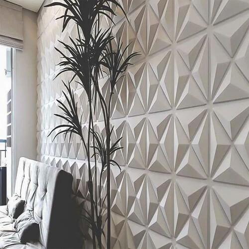 Revestimento 3D para sala feito de gesso