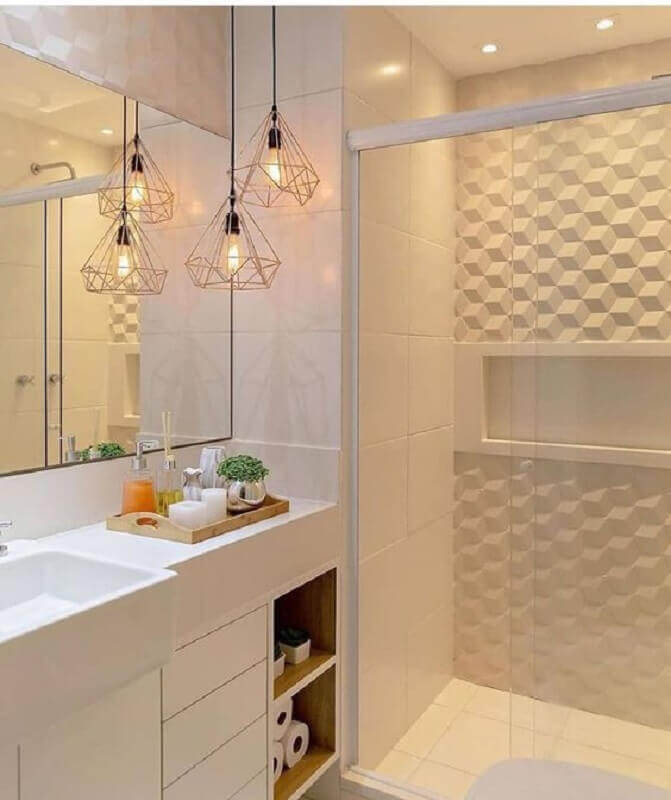 revestimento 3D para banheiro sob medida pequeno todo branco  Foto Pinterest