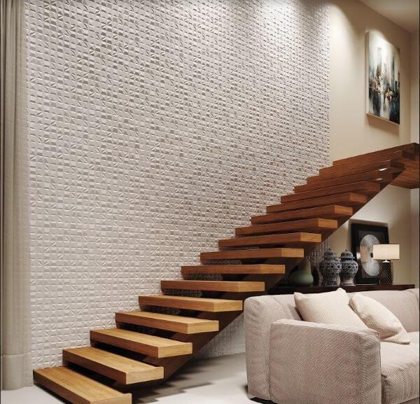 Revestimento 3D para sala na parede da escada