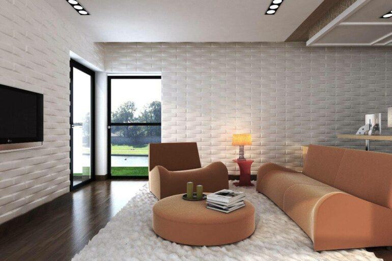 Revestimento 3D para sala branca com sofá rosa claro - Via: Revista VD