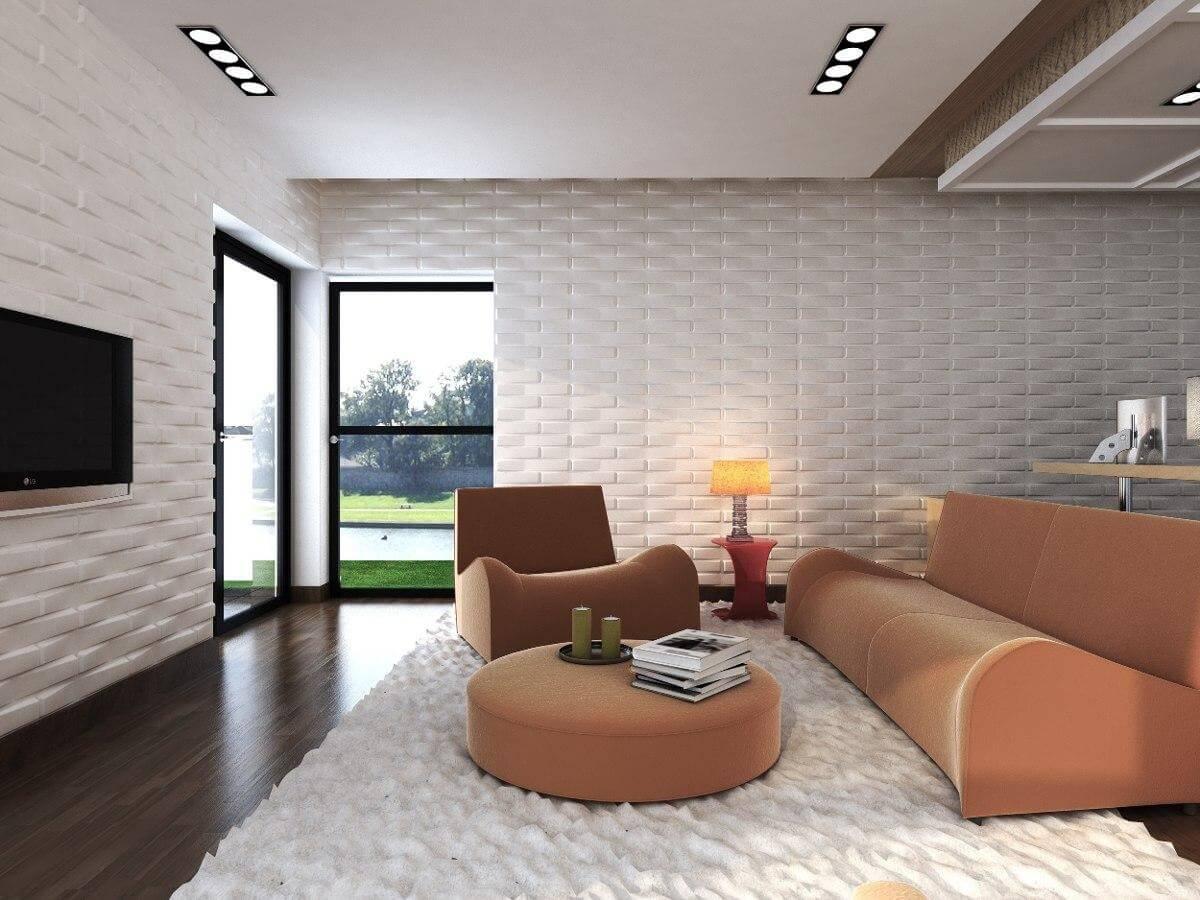 Revestimento 3D para sala branca com sofá rosa claro