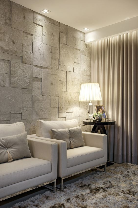 Sala confortável com revestimento 3D para sala