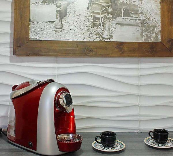 Revestimento 3D para sala com cantinho de café