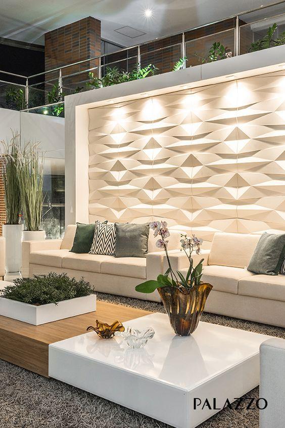 Revestimento 3D para sala com iluminação direta