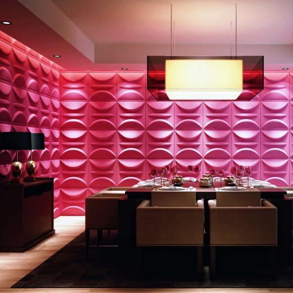 Revestimento 3D para sala de jantar cor de rosa