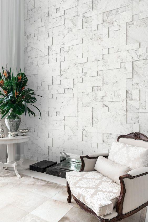 Revestimento 3D para sala com poltrona clássica