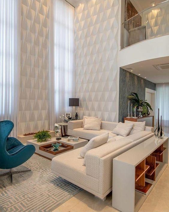 Revestimento 3D para sala com sofá em L