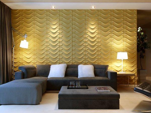 Revestimento 3D para sala de estar amarela