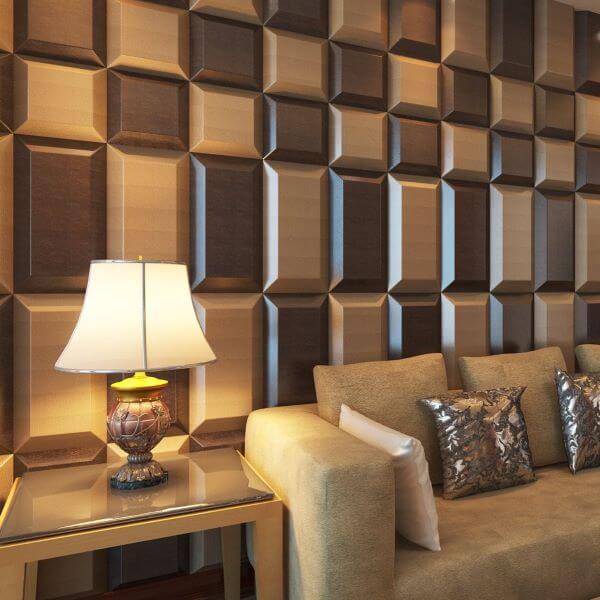 Revestimento 3D para sala de estar confortável em tons neutros