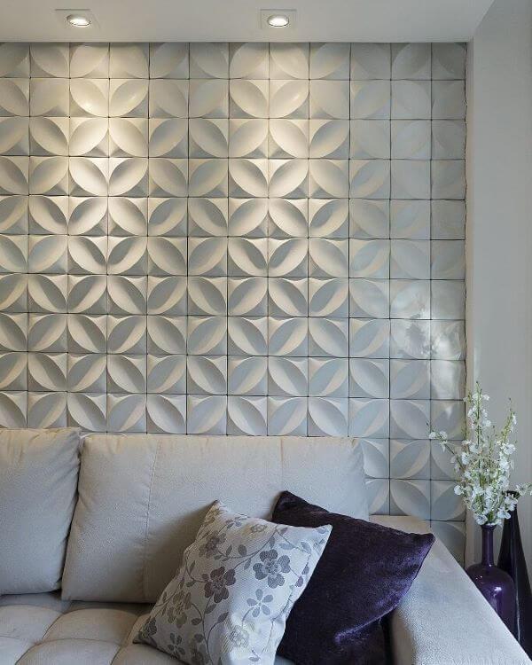 Revestimento 3D para sala de estar feito de gesso