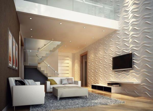 Revestimento 3D para sala de estar moderna em branco