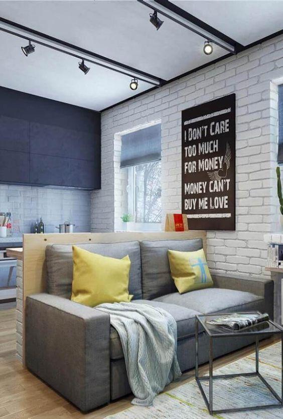 Revestimento 3D para sala de estar com tijolinho branco