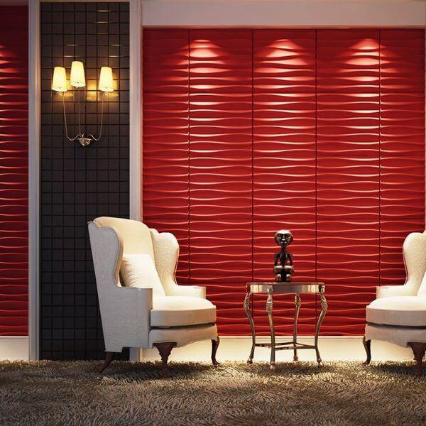Revestimento 3D para sala de estar na cor vermelho e branco