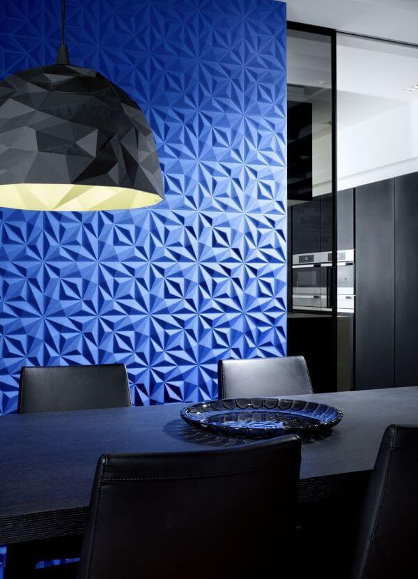 Revestimento 3D para sala de jantar azul