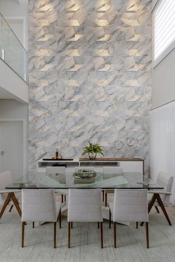 Revestimento 3D para sala de jantar