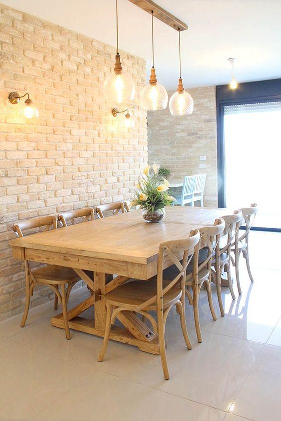 Revestimento 3D para sala de jantar de tijolinho