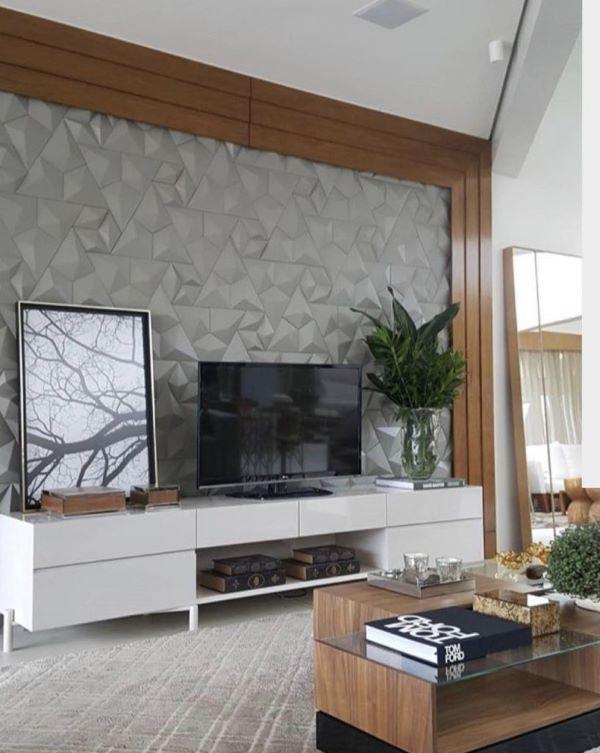 Revestimento 3D para sala de tv cinza com madeira