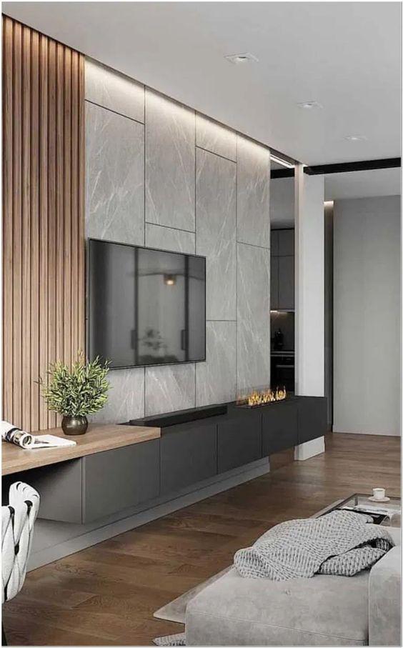 Revestimento 3D para sala de tv