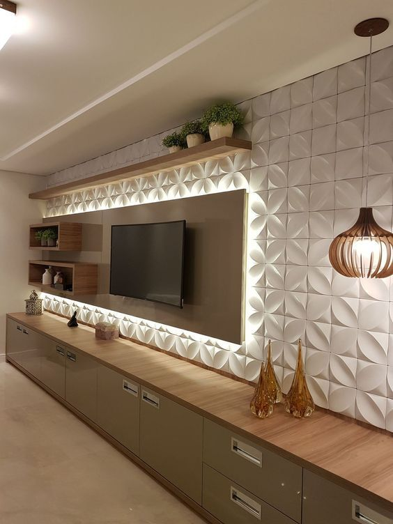Revestimento 3D para sala de TV iluminada