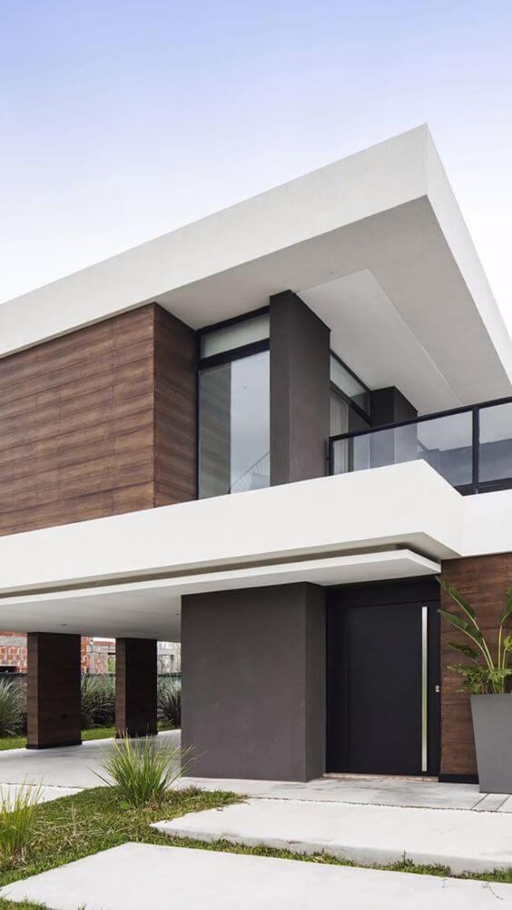 Revestimento para fachada branca e marrom
