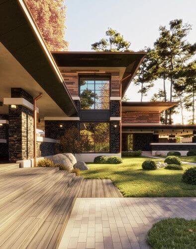 Revestimento para fachada de casa de madeira