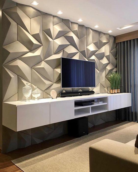 Revestimento 3D para sala de TV cinza com rack branca