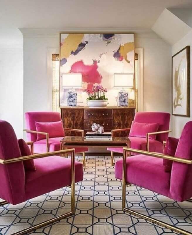 sala decorada com poltronas rosa pink Foto Home Fashion Trend