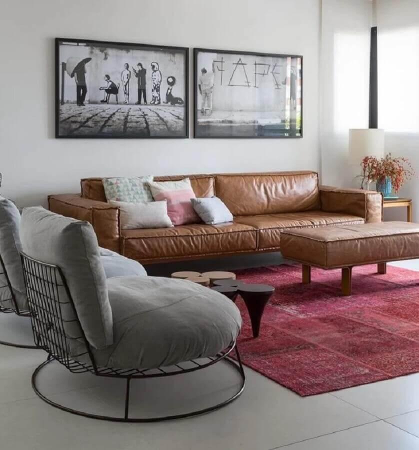 sofá marrom para decoração de sala moderna com poltronas cinza Foto Sala 2 Arquitetura