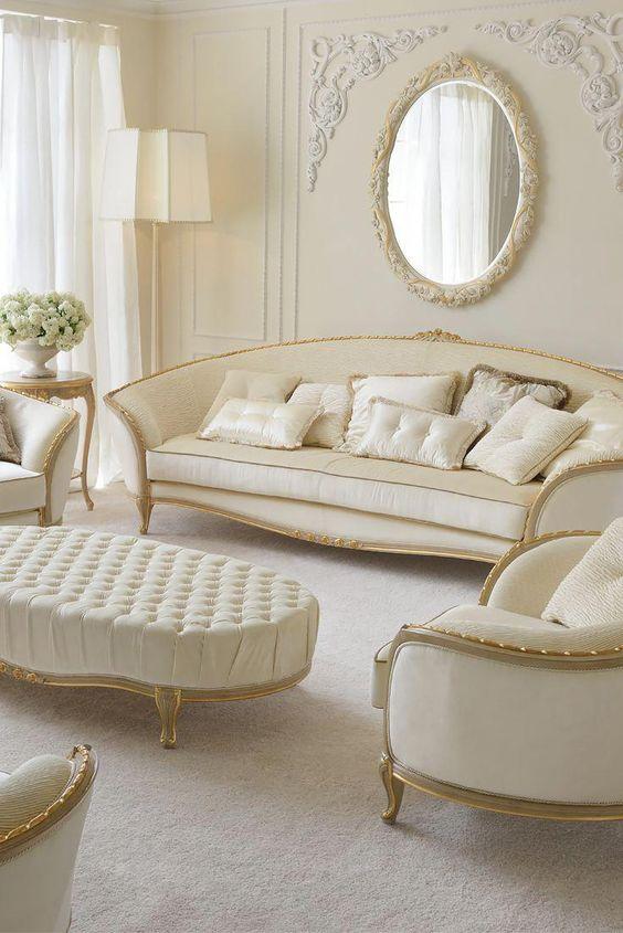 Sofá antigo clássico branco