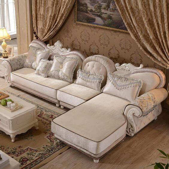 Sofá antigo clássico branco para sala de estar