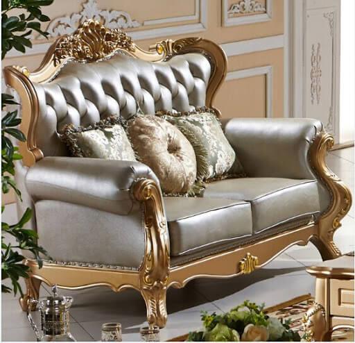 Sofá antigo dourado e prata