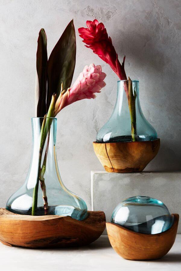 Vaso de madeira e vidro super moderno