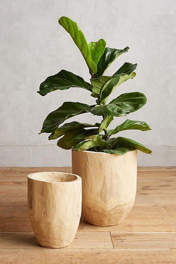 Vaso e cachepot de madeira