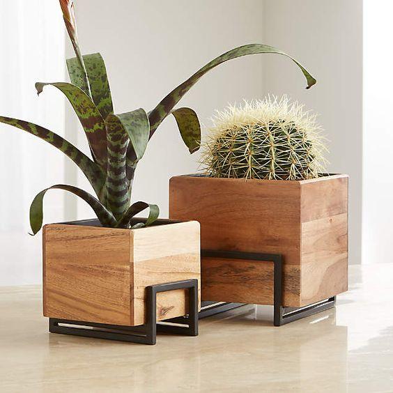 Vaso de madeira com ferro e suculentas