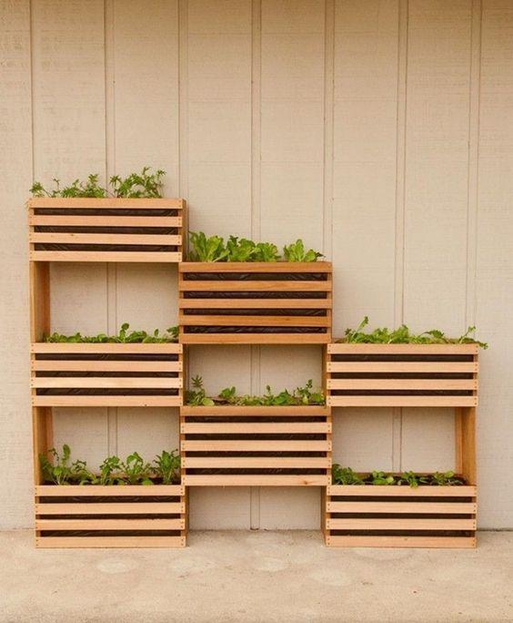 Vaso de madeira para plantas na parede