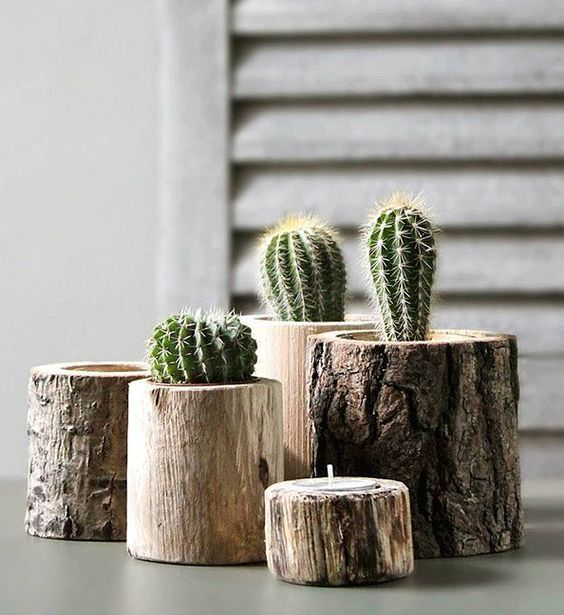 Vaso de madeira rústico