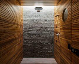 Banheiro com ripas de madeira