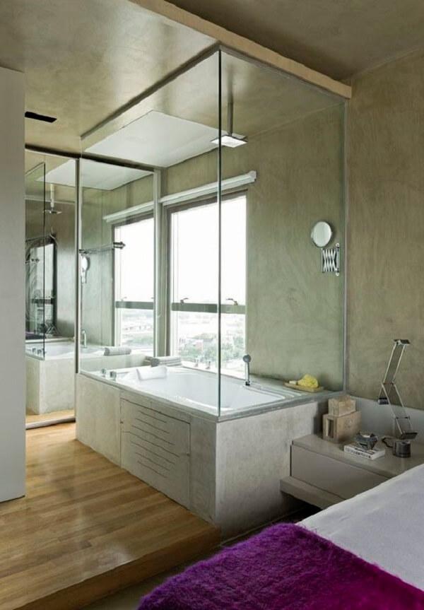 Decoração moderna e sofisticada para esse quarto com suíte de vidro