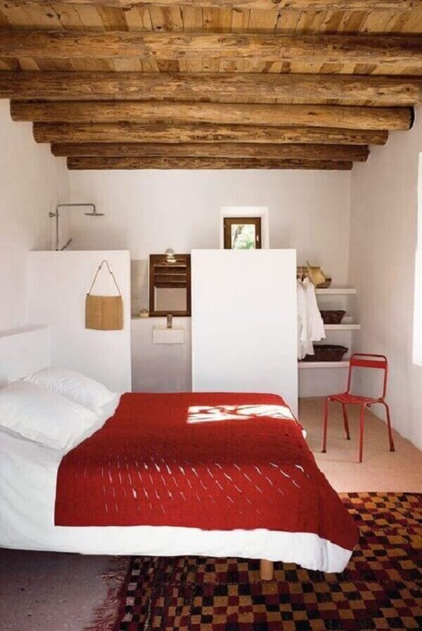 Decoração rústica para quarto com suíte simples