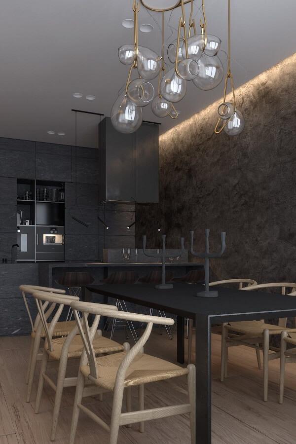 Lustre estilo industrial com gotas em vidro