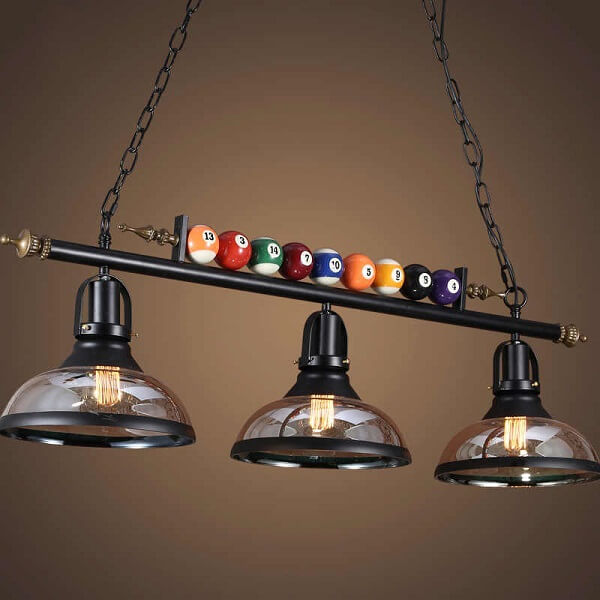 Modelo de lustre retrô industrial perfeito para mesa de bilhar