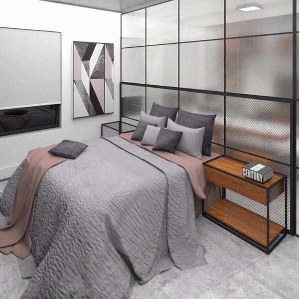 Modelo de quarto com suíte moderno e jovial