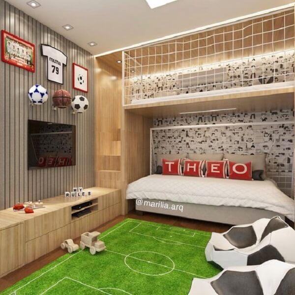 Modelo de tapete para quarto infantil masculino e feminino em forma de gramado de futebol